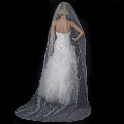 Beaded Cathedral Wedding Bridal Veil In Ivory