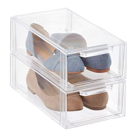 shoe box storage containers clear stackable shoe drawer the container store