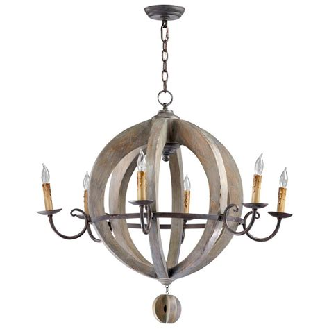 French Country Round Barrel Carved Wood Limed Oak 6 Light Country Wooden Chandeliers