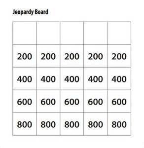 jeapordy template sle jeopardy template 6 documents in