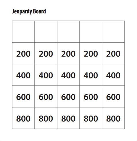 jeopardy printable template sle jeopardy template 6 documents in
