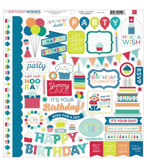 Paper To Make Stickers - echo park paper company birthday wishes boy element