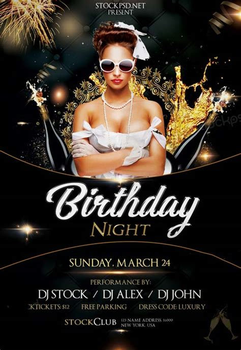 Birthday Gold Night Free Psd Flyer Template Download Free Birthday Party Flyer Templates Birthday Flyer Template