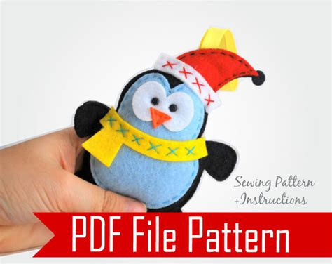 felt penguin christmas ornament sewing pattern pdf