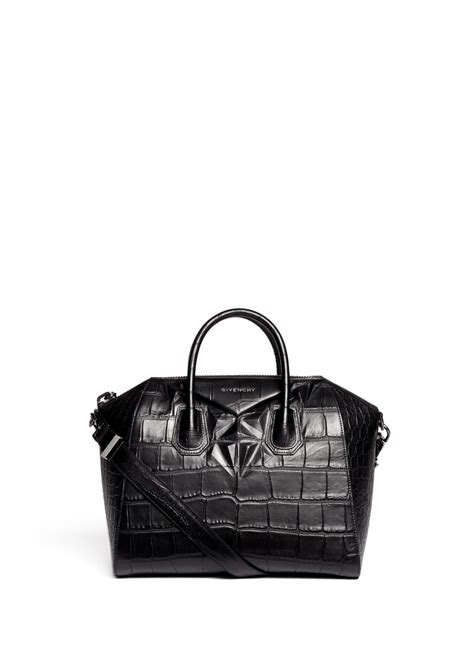 Details Givenchy Antigona Croco givenchy antigona medium croc embossed leather satchel in