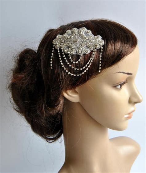 gatsby themed hairpieces crystal bridal art deco hair comb downton abbey great