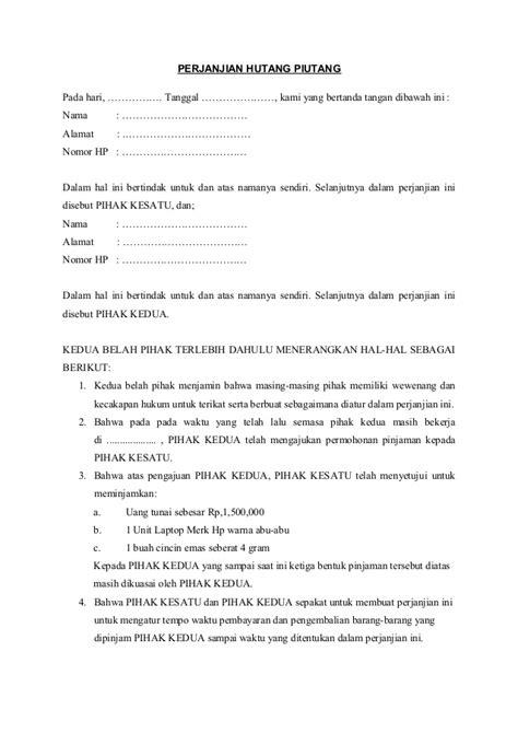 format surat kuasa utang contoh perjanjian hutang piutang