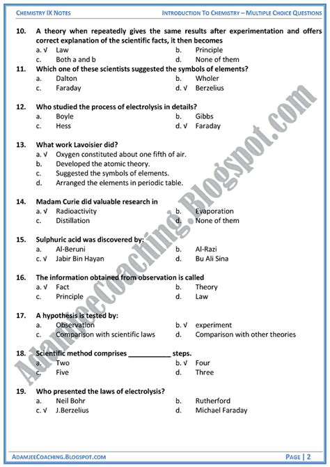 Notes For Class 9 Essay by Adamjee Coaching Introduction To Chemistry Mcqs Chemistry Ix