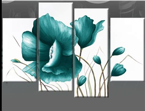 artwork for home large teal canvas pictures floral flower painting wall art