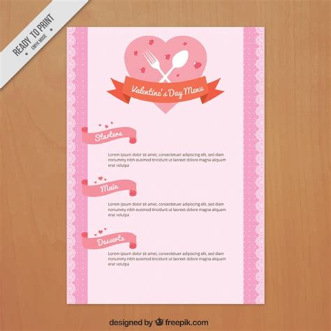 special menu template for valentine in retro style vector