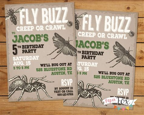 Insect Bug Party Invitation Creepy Crawlers Insects And Bugs Birthday Insectparty Bug Invitation Template
