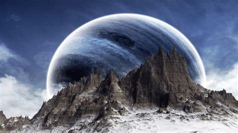 Fantasy Kunst Berge Weltraum Planeten wallpaper