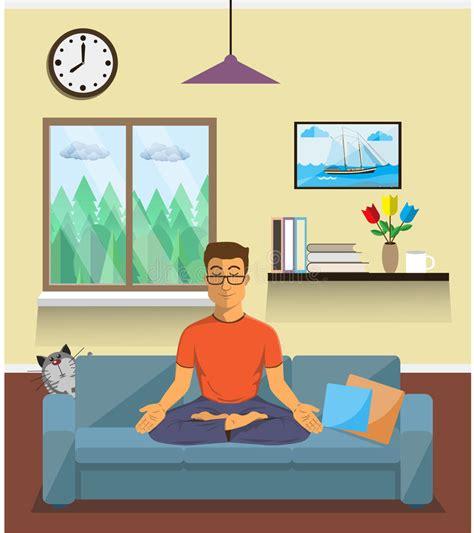 harmony house yoga man meditates in the yoga lotus position home interior