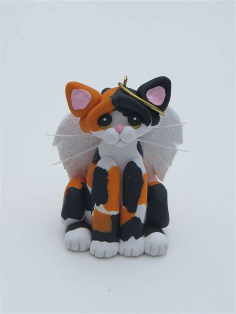 calico cat angel christmas ornament figurine by