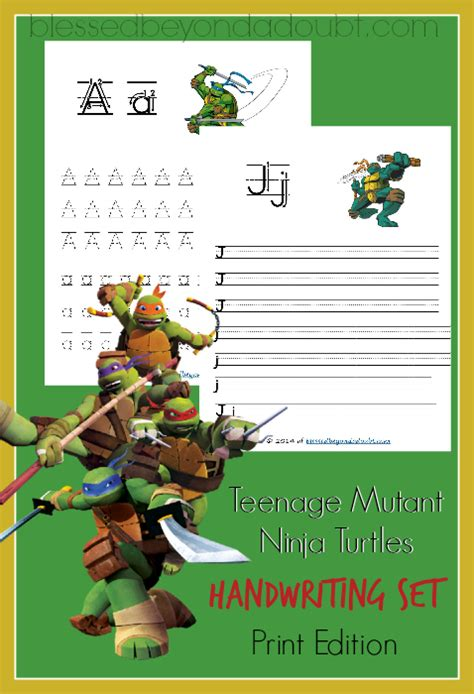 printable ninja letters free teenage mutant ninja turtles handwriting printables
