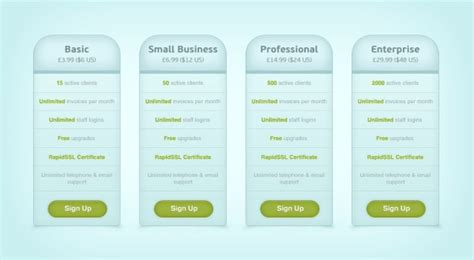 webpage price list psd design template free vector