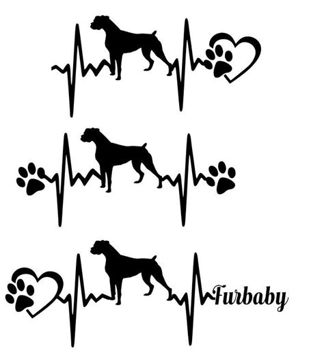 dog silhouette tattoo commercial use svg svg cut file boxer heartbeat paw with