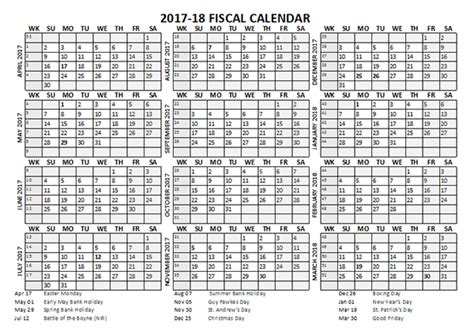 2018 Fiscal Calendar 2017 Fiscal Calendar Template Starts At April Free