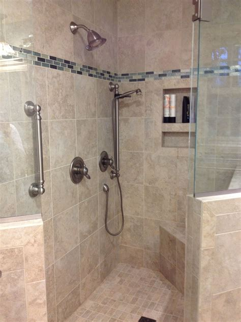 custom tile shower   built  shower caddie