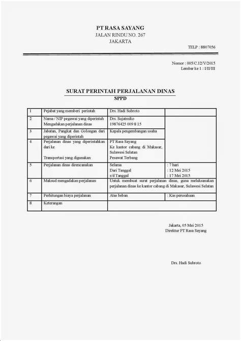 Surat Perjalanan Dinas by Contoh Surat Spj Perjalanan Dinas Kotasurat