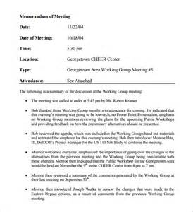 sample meeting memo template 9 free documents in pdf