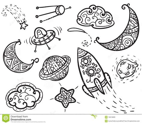 doodle universe universe icons stock photos image 16619083