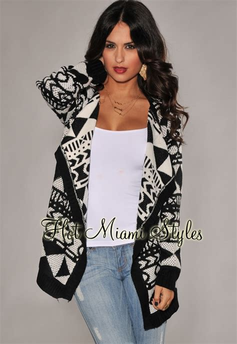 black white tribal print sweater cardigan