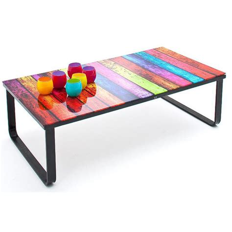 Rainbow Tables by Rainbow Glass Coffee Table With Black Metal Frame 24311