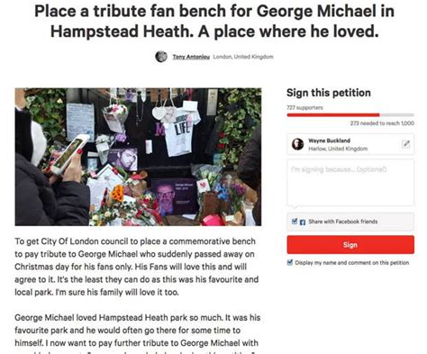 George Michael Cottaging by George Michael S Fans In Plea For Tribute Bench At