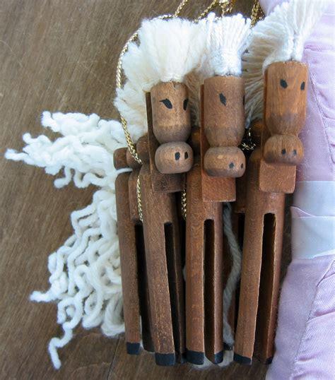Handmade Vintage - set of 3 handmade vintage wooden clothespin ornaments horses
