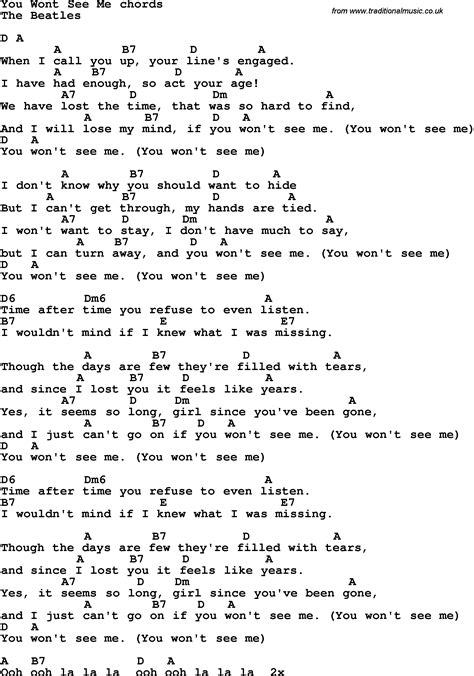 song t song lyrics with guitar chords for you won t see me