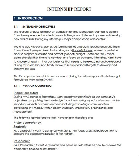 internship report template sle internship report 13 documents in pdf