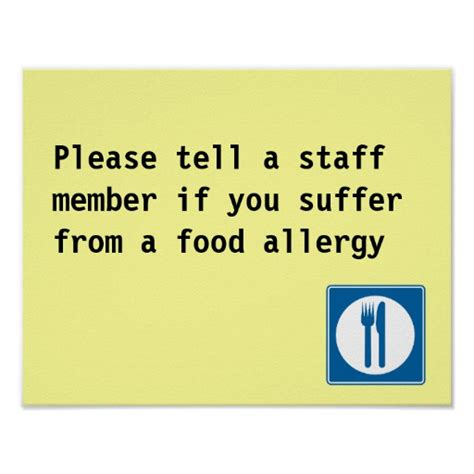 printable allergy poster restaurant food allergy notice print zazzle