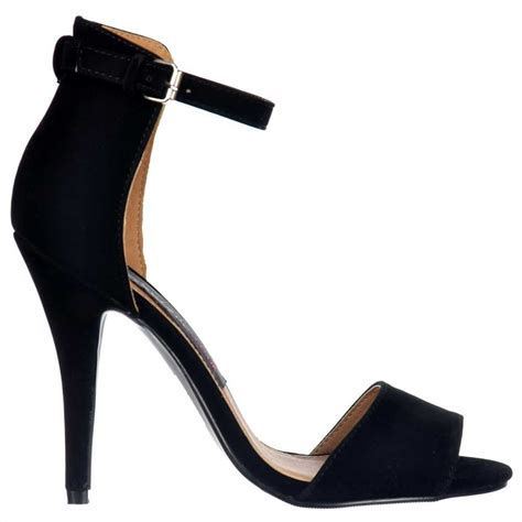 black heels sandals shoekandi high back strappy sandals peep toe mid heels