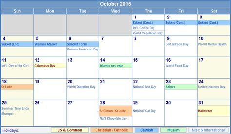october 2015 calendar with holidays for printing picture