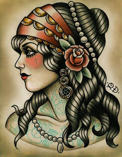 tattoo gypsy girl gypsy tattoo art print by parlortattooprints on etsy 22