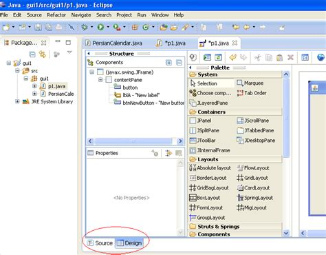 eclipse java layout designer import existing java project in eclipse but design view