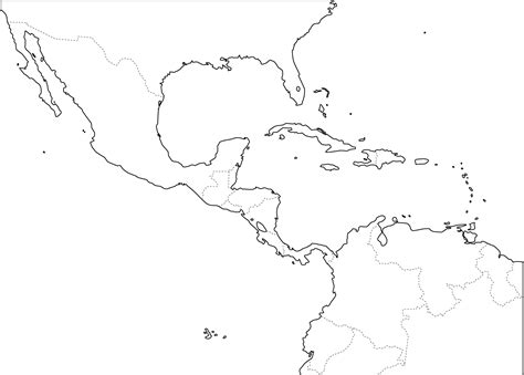 Outline Map Of America And Caribbean by Blank Map Caribbean Sea