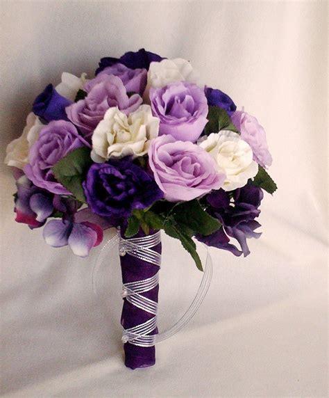 purple flower wedding bouquet photos silk purple bridal bouquets package custom for helen