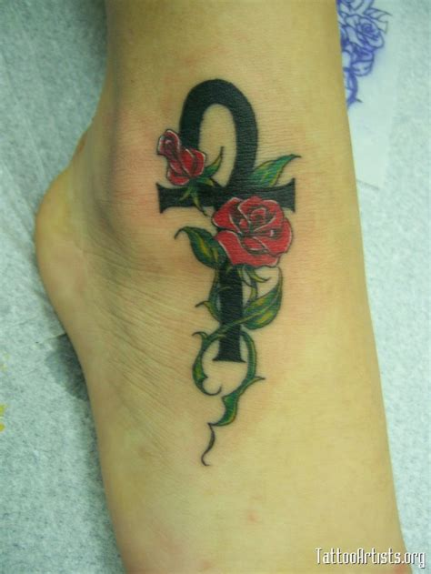 foot tattoos roses ankh and roses foot tat foot