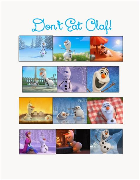 free printable olaf game disney s frozen party games and food labels the style