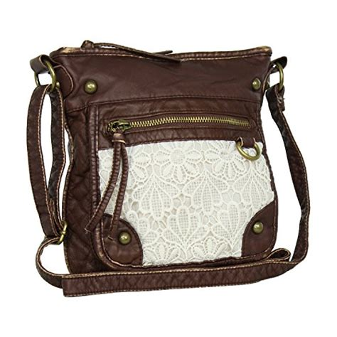 White Laced Leather Handbag by Large Lace Faux Leather Crossbody Purse Best Bag