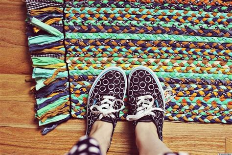 how to sew a rug make a bright and colorful braided rug with fabric scraps huffpost