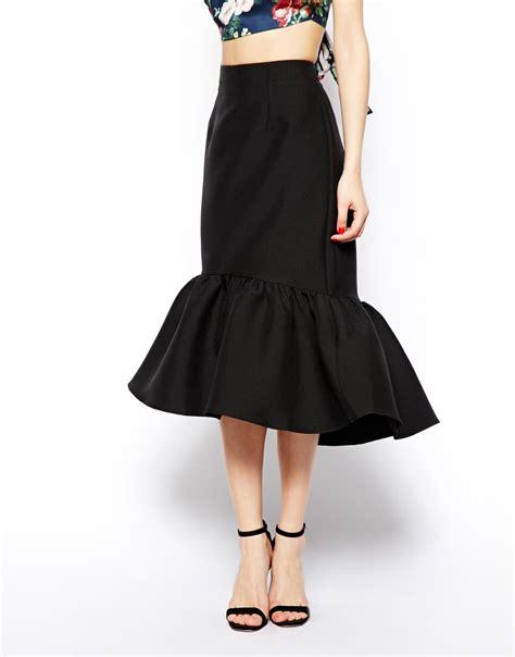 Skirt Peplum asos peplum hem pencil skirt in texture in black lyst