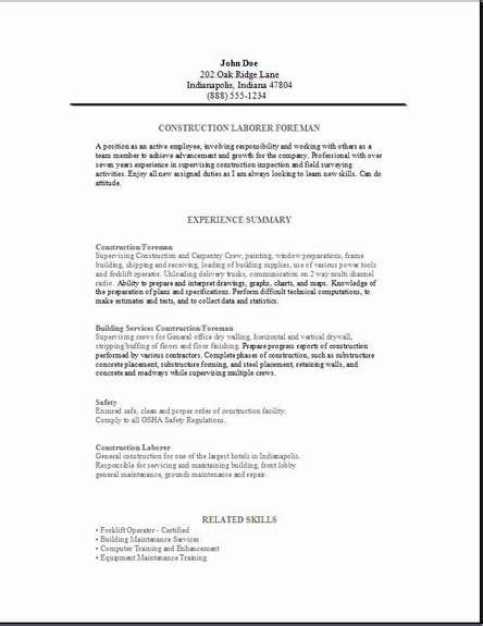 sle cover letter for resume construction