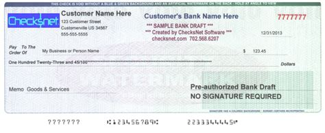 bank draft template new features in checksnet