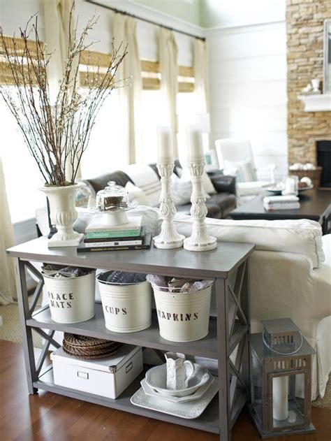 cottage livingrooms add charm with labeled buckets hgtv