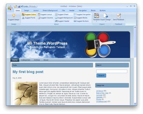 membuat theme wordpress dengan artisteer artisteer crea themes wordpress desde cero
