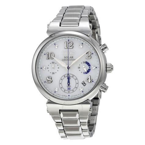 seiko solar chronograph white stainless steel