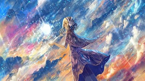 anime rain clouds sky headphones wallpapers hd